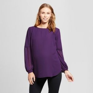 Isabel Maternity Purple Balloon Sleeve Blouse